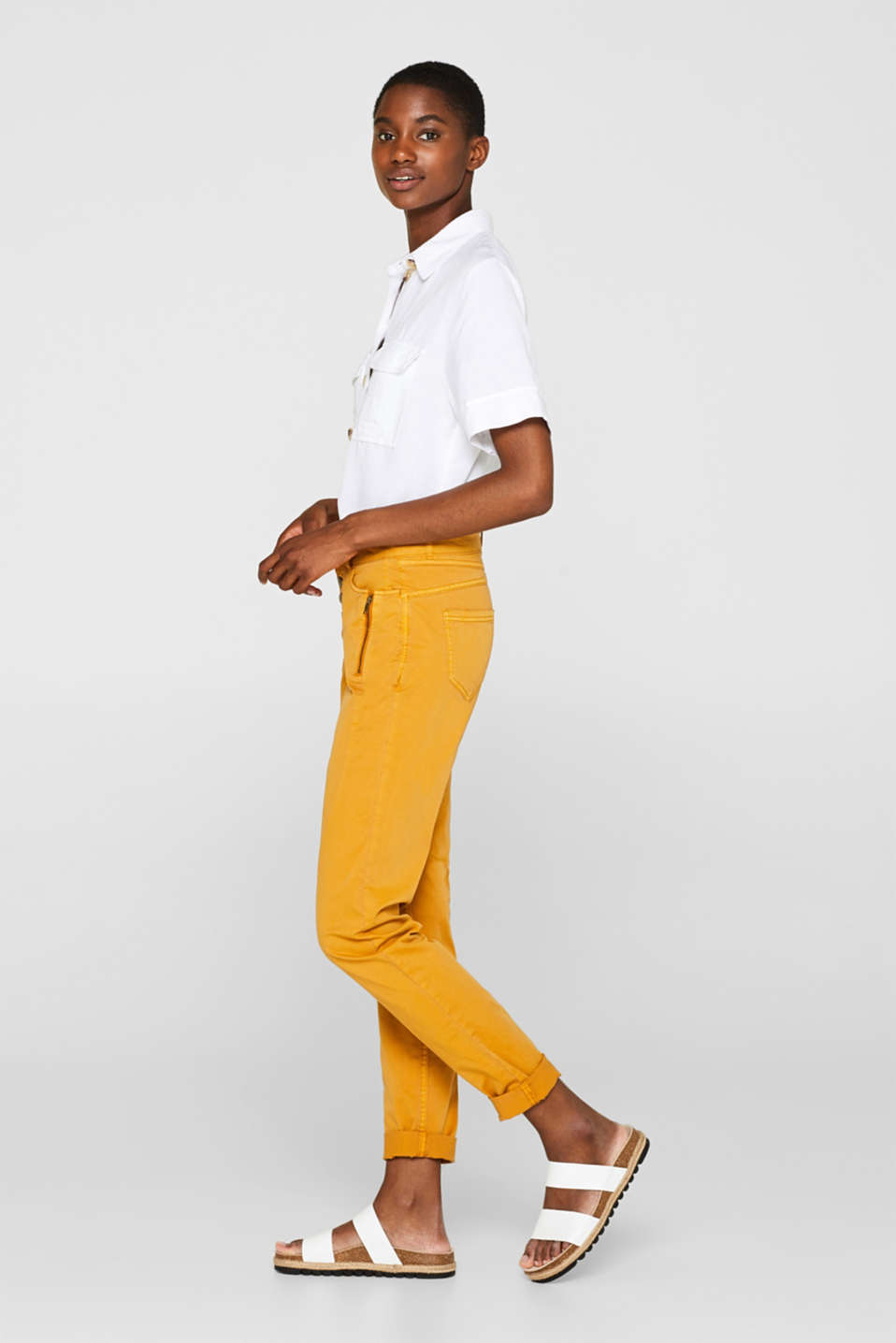 edc - Stretch chinos with a button fly and zips
