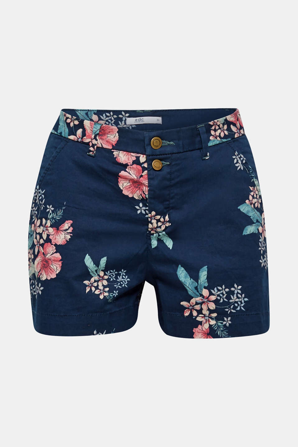 8c1bfb8c0f00d The styling of these stretch cotton shorts featuring a colourful floral  pattern and chic button placket