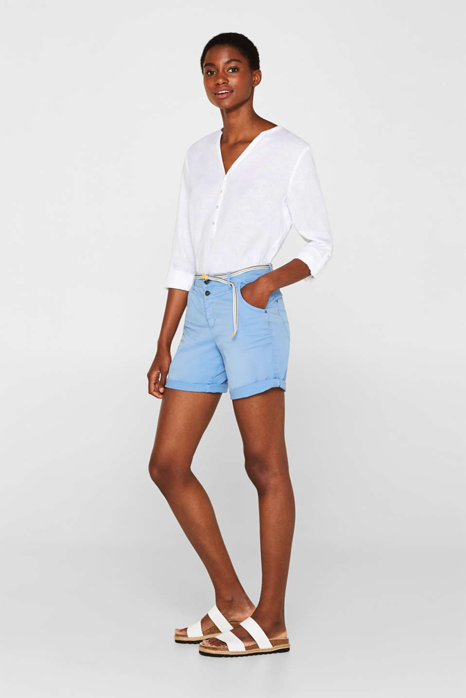 edc - Stretch shorts with a button fly and belt