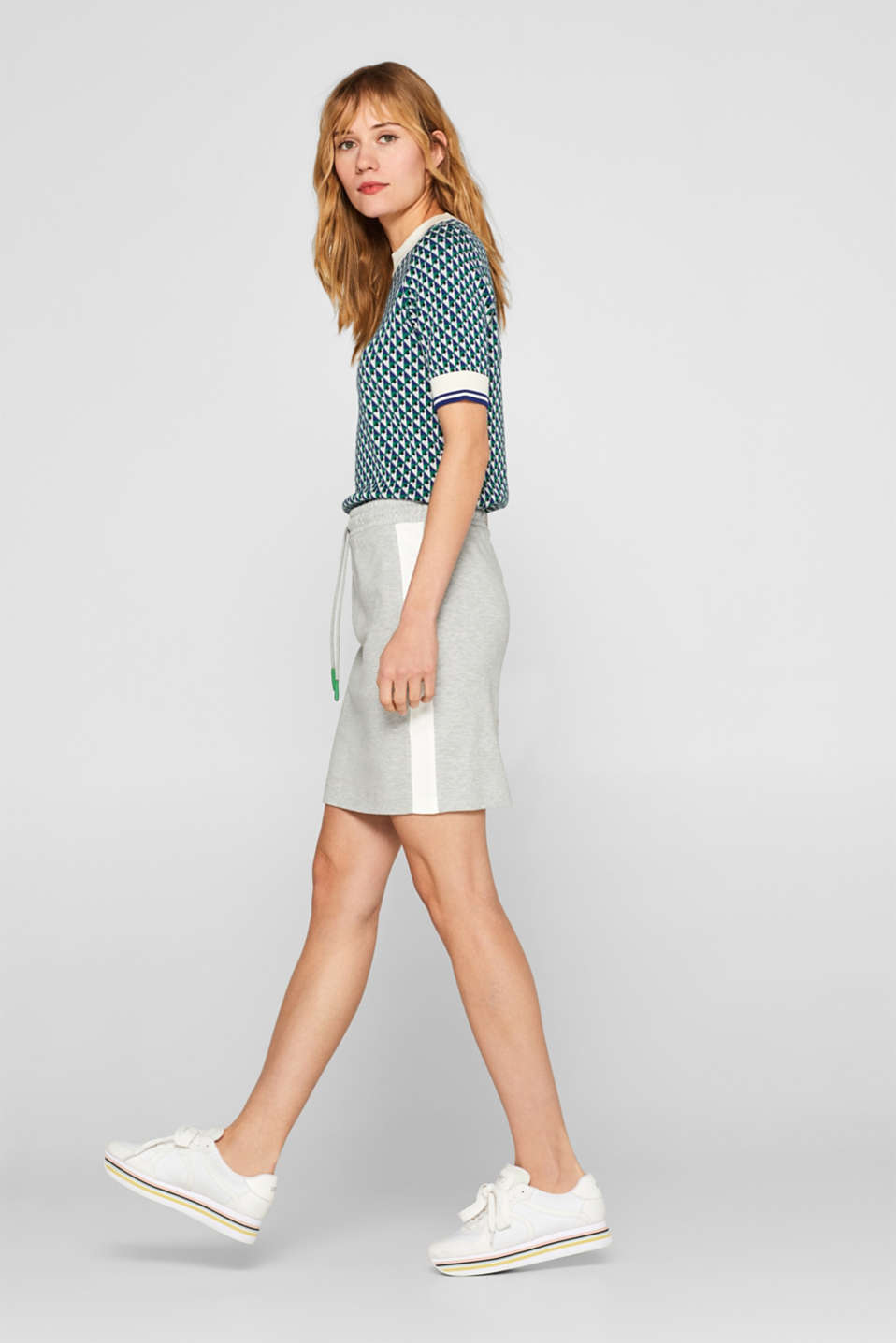 edc - Sweatshirt skirt with side stripes