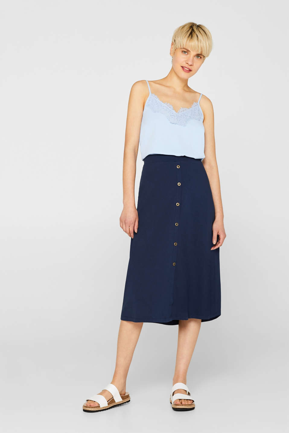 edc - Midi length jersey skirt, 100% cotton