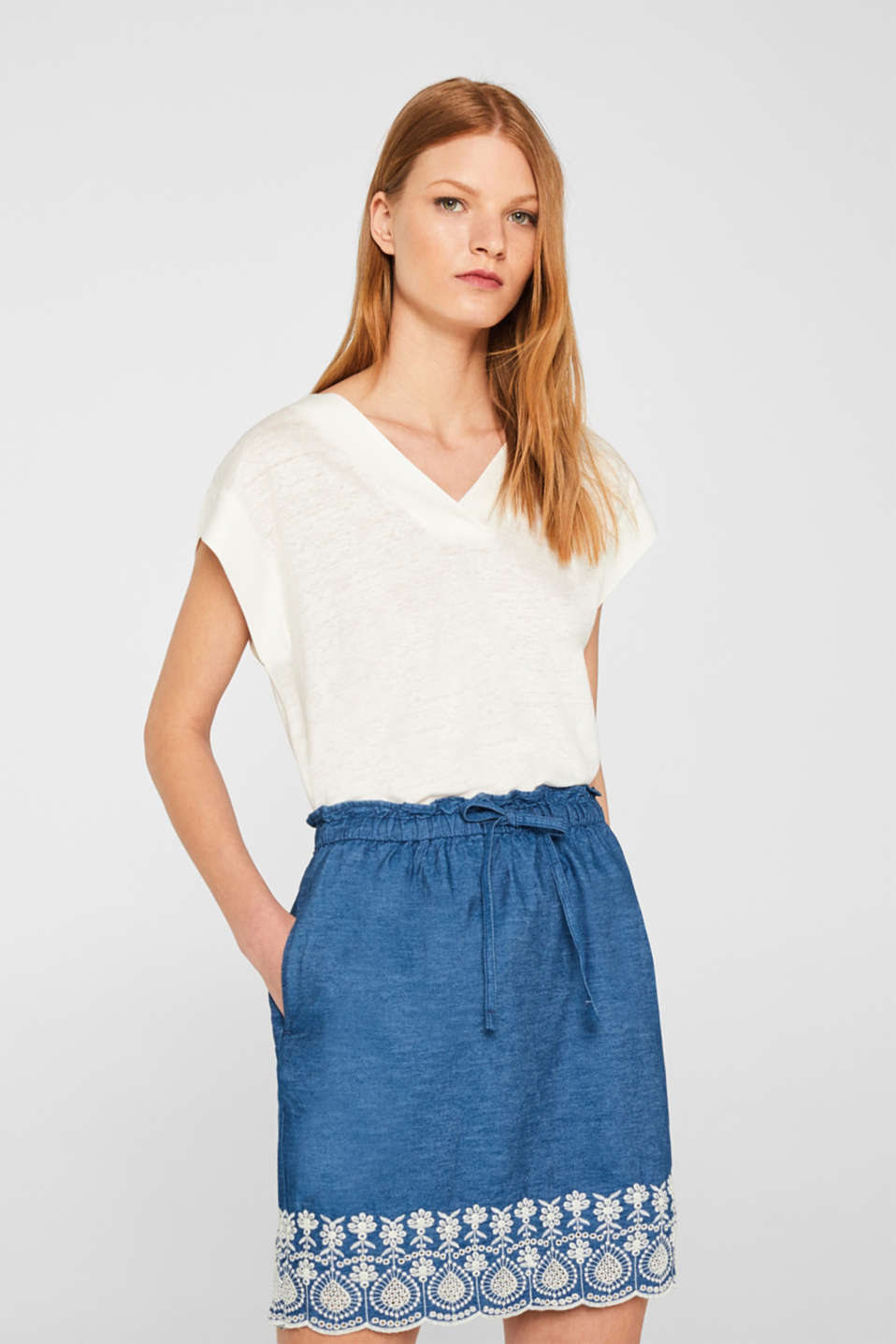 edc - Lightweight embroidered denim skirt, 100% cotton