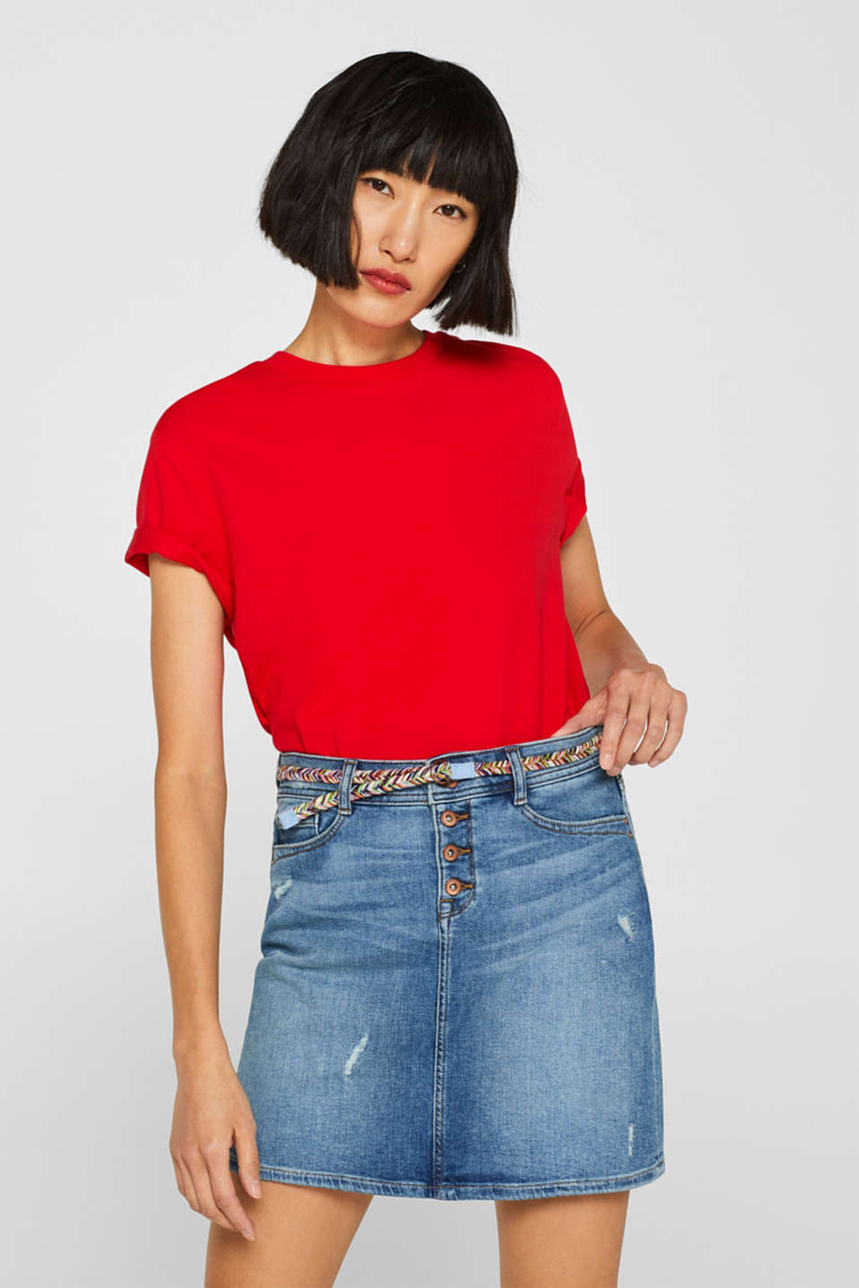 edc - Stretch denim skirt with a button placket and belt