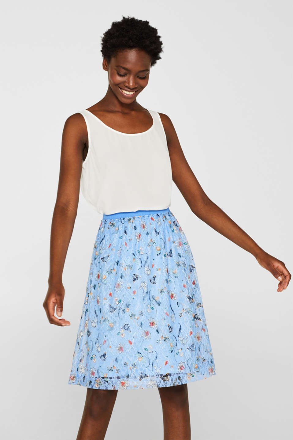 edc - Lace skirt with a floral print and an elasticated waistband