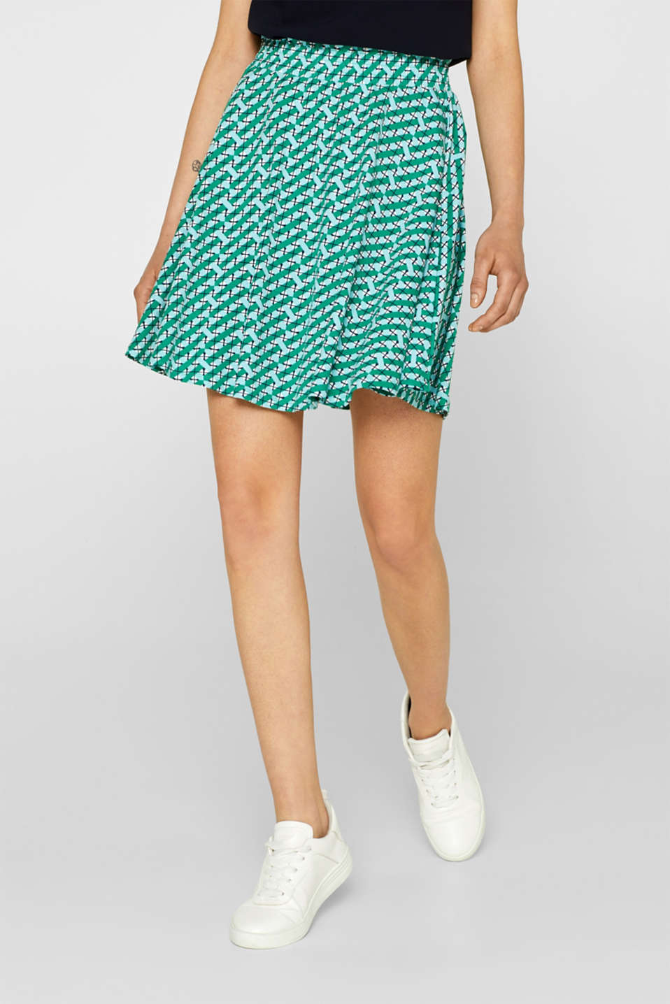 edc - Patterned jersey skirt with a smocked waistband