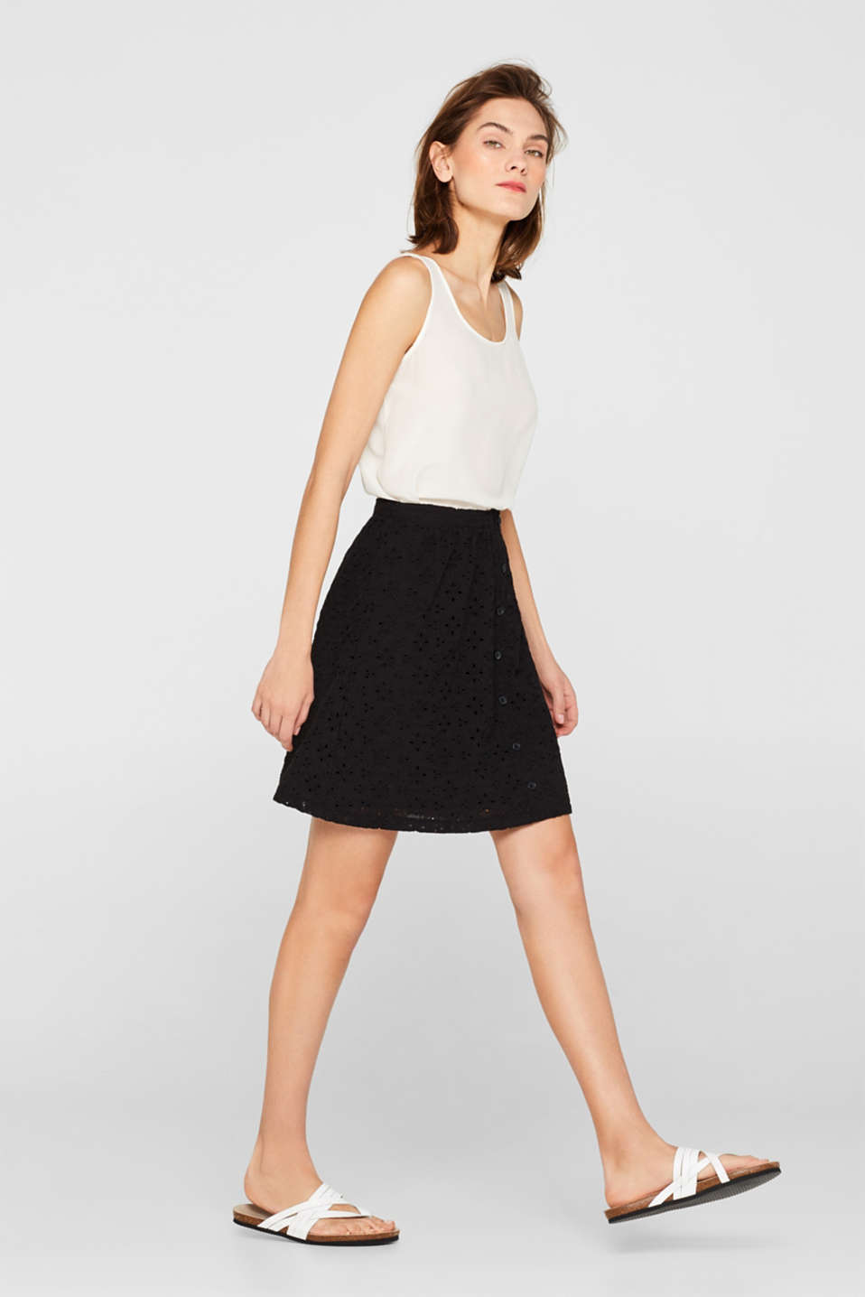 Skirt with broderie anglaise and a button placket, BLACK, detail