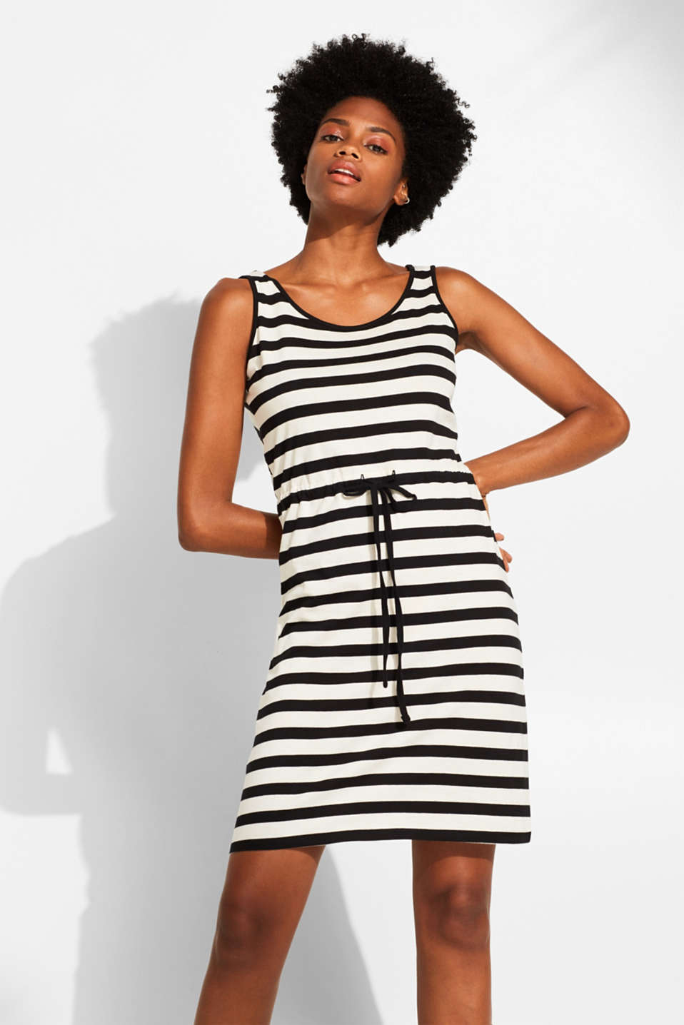 edc - Striped dress with wrap effect, 100% cotton