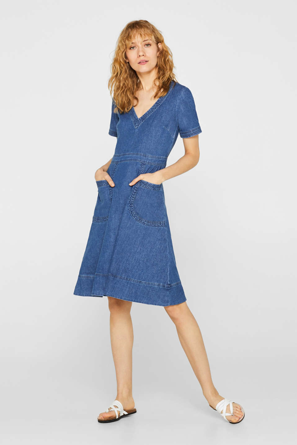 edc - Stretchy denim dress with a flared skirt