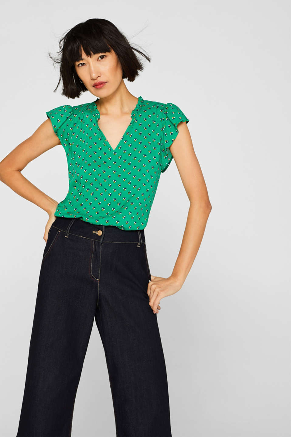 edc - Henley blouse top with cap sleeves