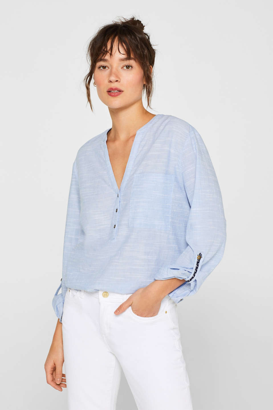 edc - Textured Henley blouse made of 100% cotton