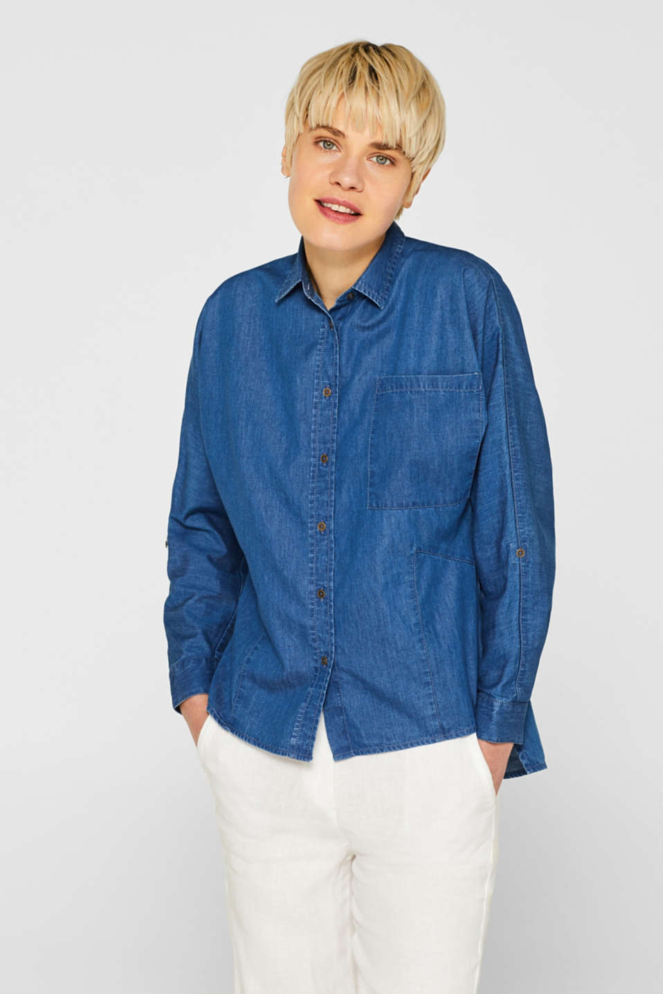 edc - Denim shirt blouse in 100% cotton