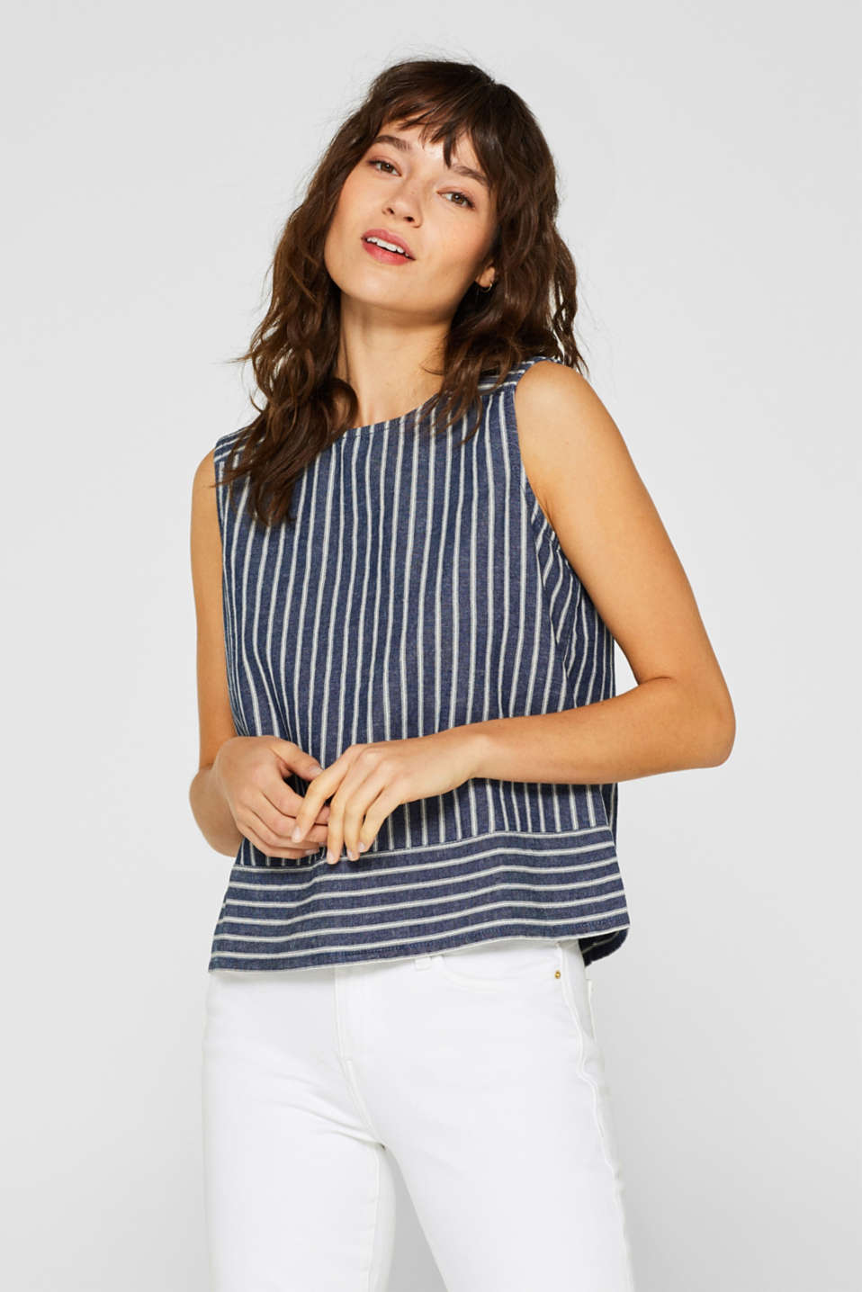 With linen: boxy blouse top with stripes
