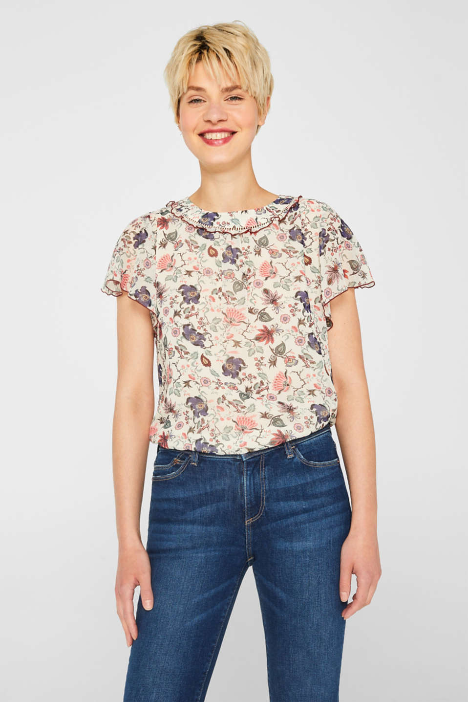 edc - Crêpe blouse with a floral pattern