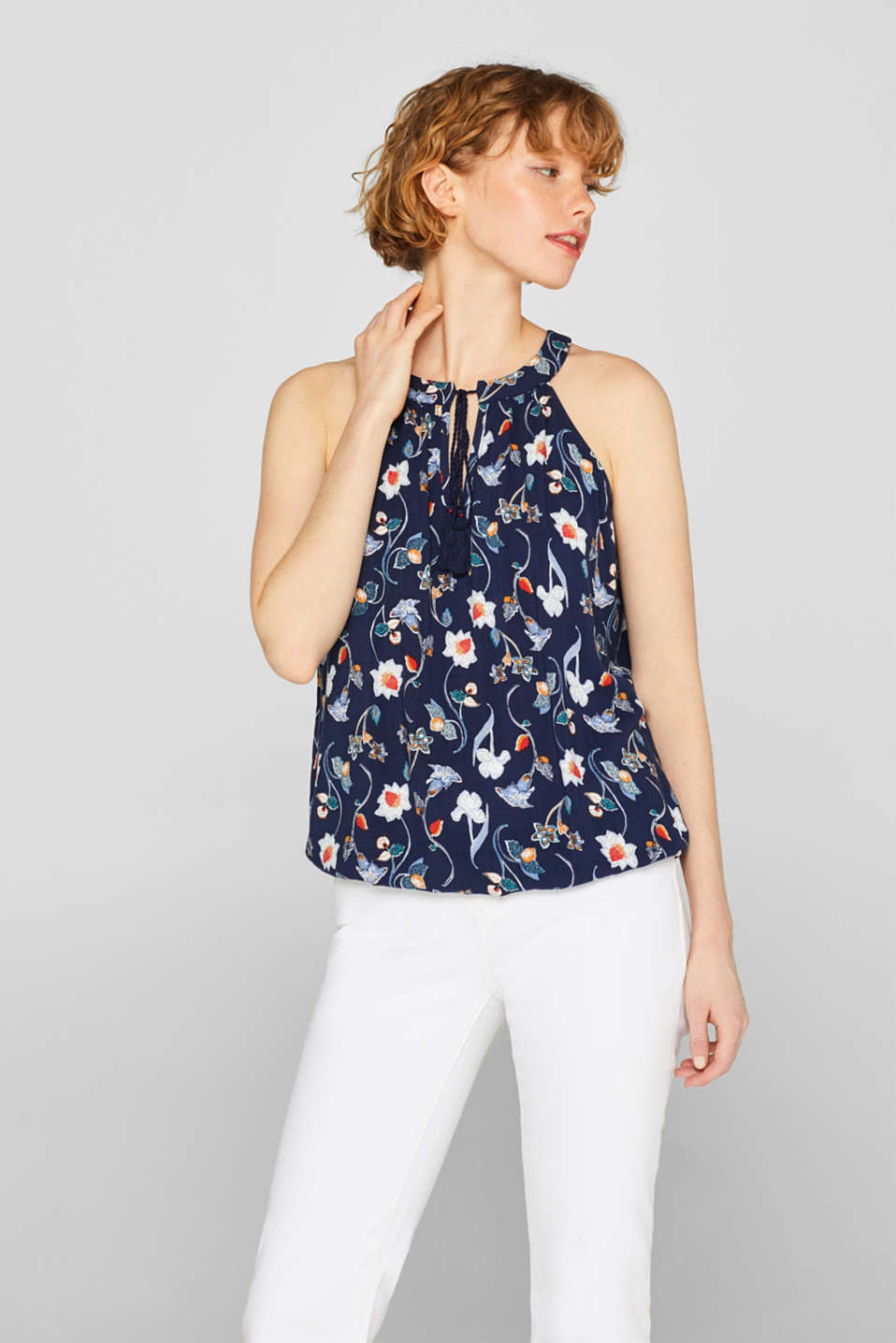 edc - Floral top with cutaway shoulders