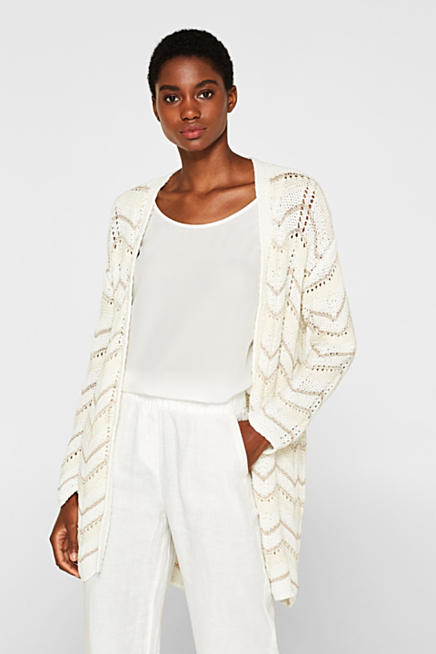 f887c4cd54c Openwork cardigan with a zigzag texture