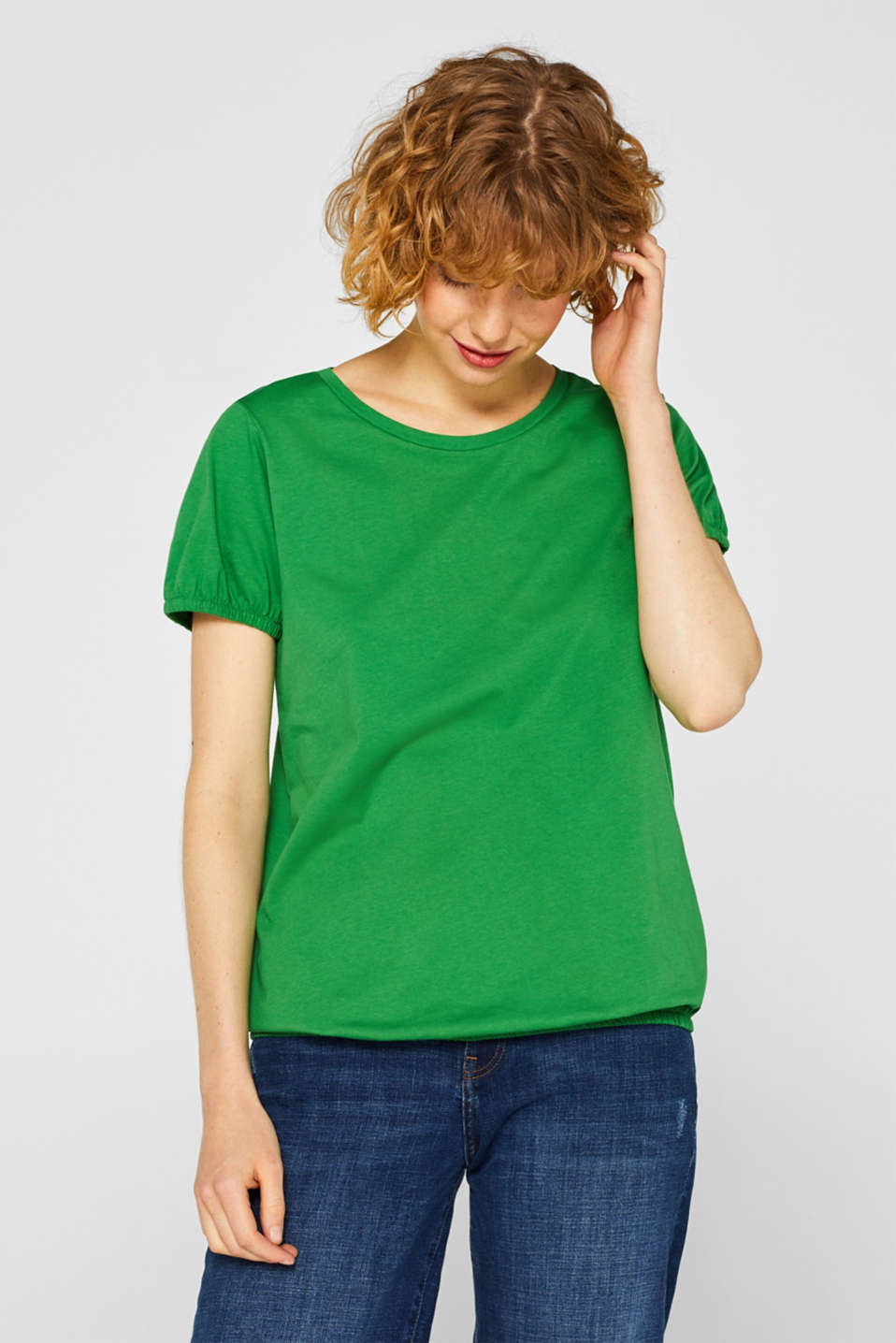 edc - T-shirt with an elasticated hem, 100% cotton