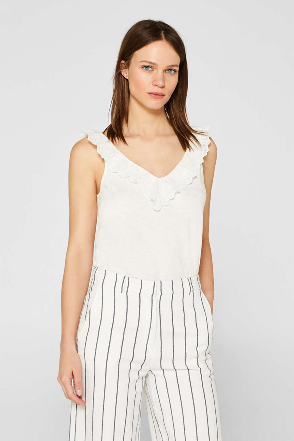 Slub jersey with a lace flounce, OFF WHITE, detail image number 0