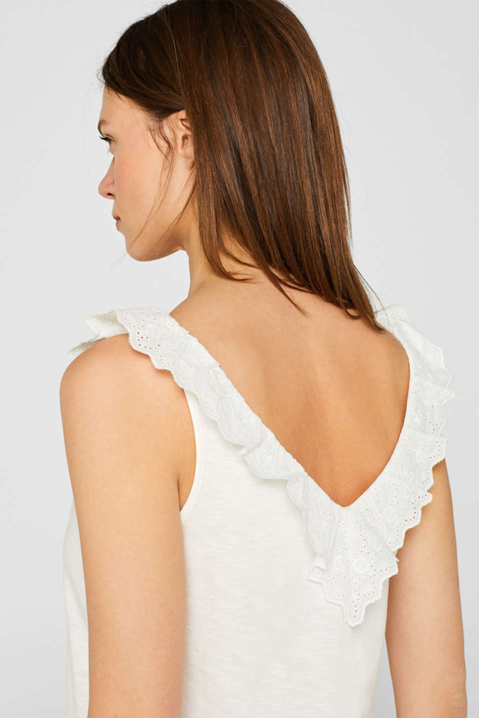 Slub jersey with a lace flounce, OFF WHITE, detail image number 3
