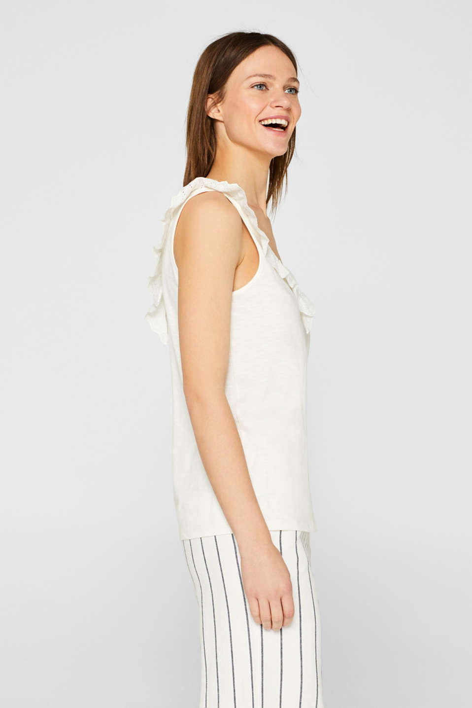 Slub jersey with a lace flounce, OFF WHITE, detail image number 5