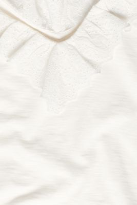 Slub jersey with a lace flounce, OFF WHITE, detail