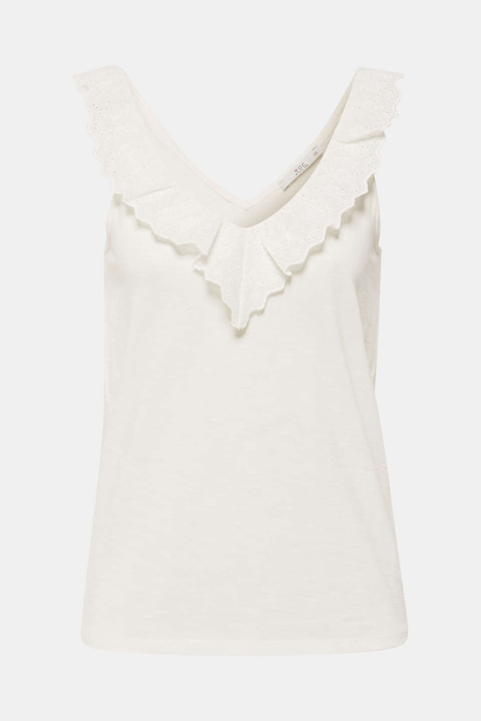 Slub jersey with a lace flounce, OFF WHITE, detail image number 6