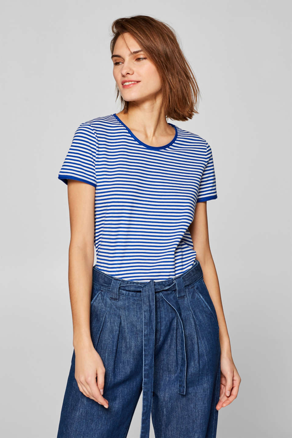 Striped stretch T-shirt containing organic cotton, BRIGHT BLUE, detail image number 0