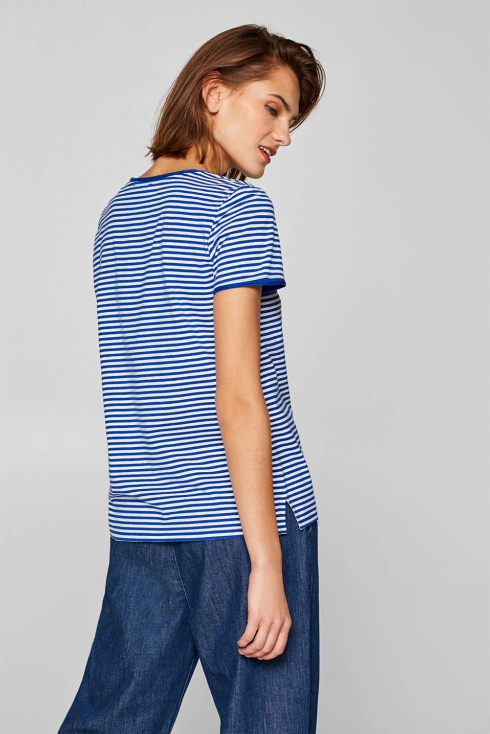 Striped stretch T-shirt containing organic cotton, BRIGHT BLUE, detail image number 3
