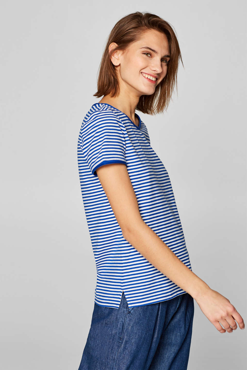 Striped stretch T-shirt containing organic cotton, BRIGHT BLUE, detail image number 5