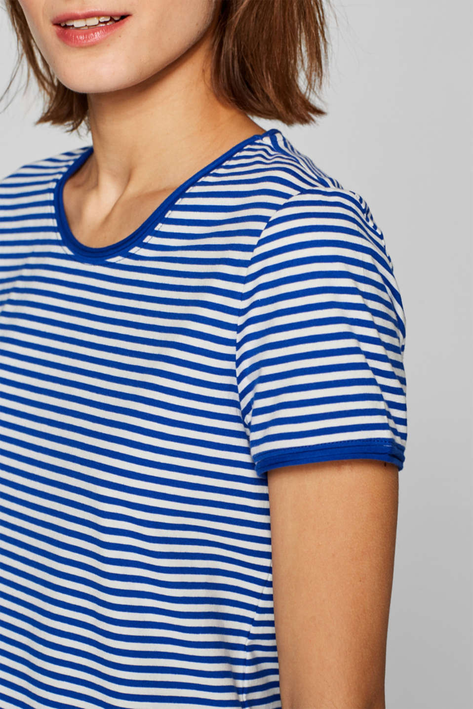 Striped stretch T-shirt containing organic cotton, BRIGHT BLUE, detail image number 2