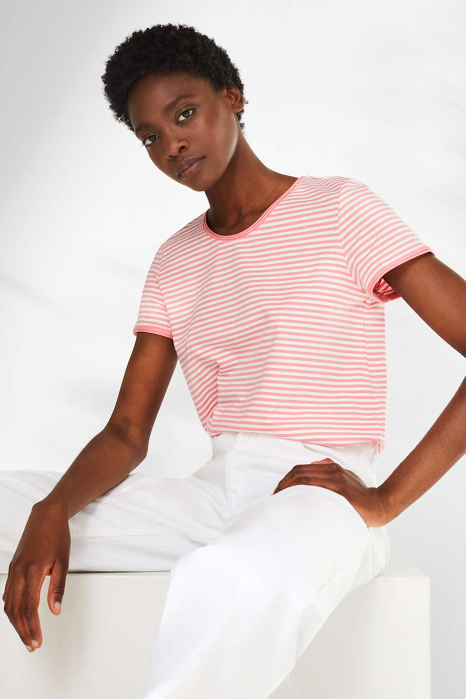 edc - Striped stretch T-shirt containing organic cotton