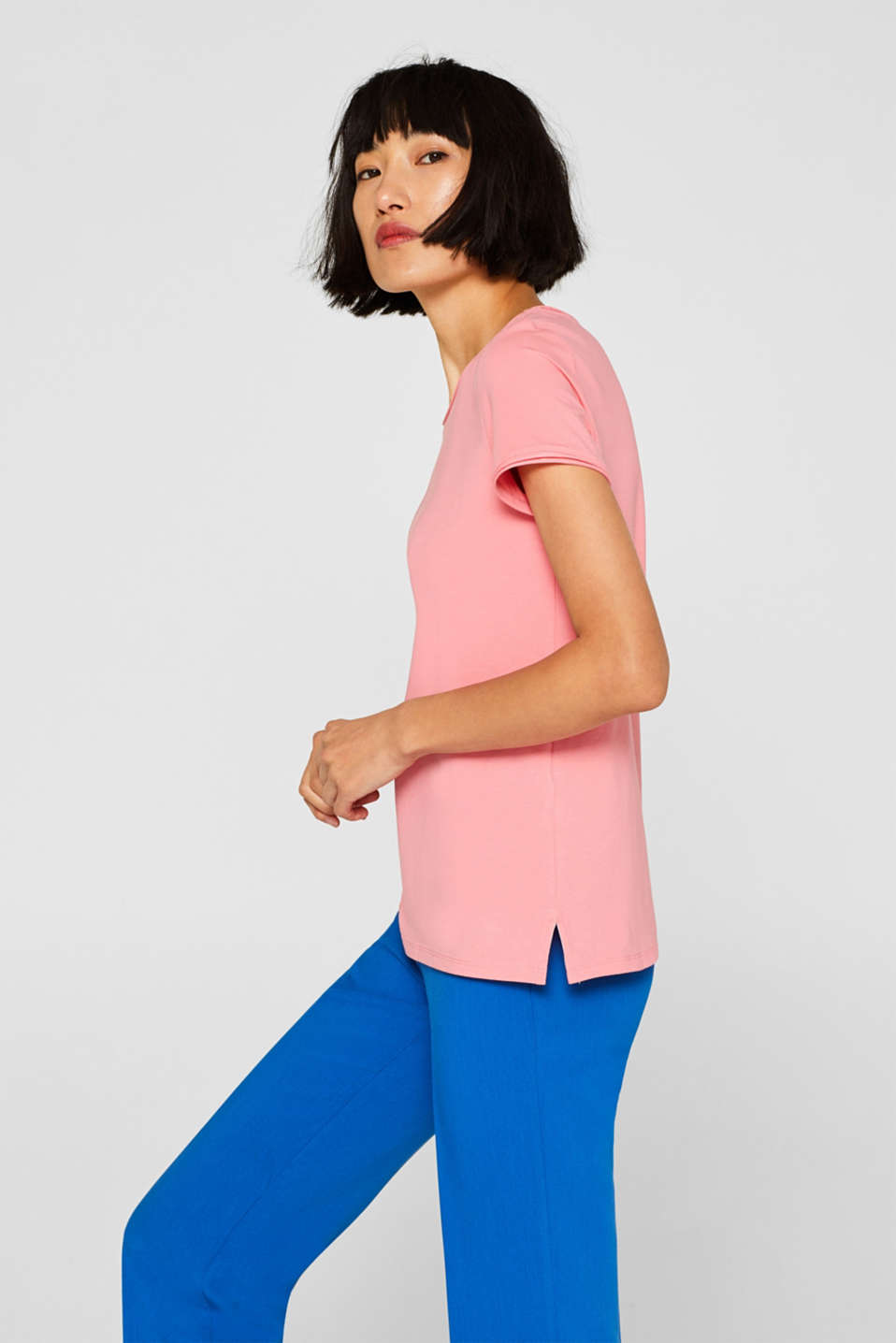 Stretch T-shirt with organic cotton, PINK, detail image number 5