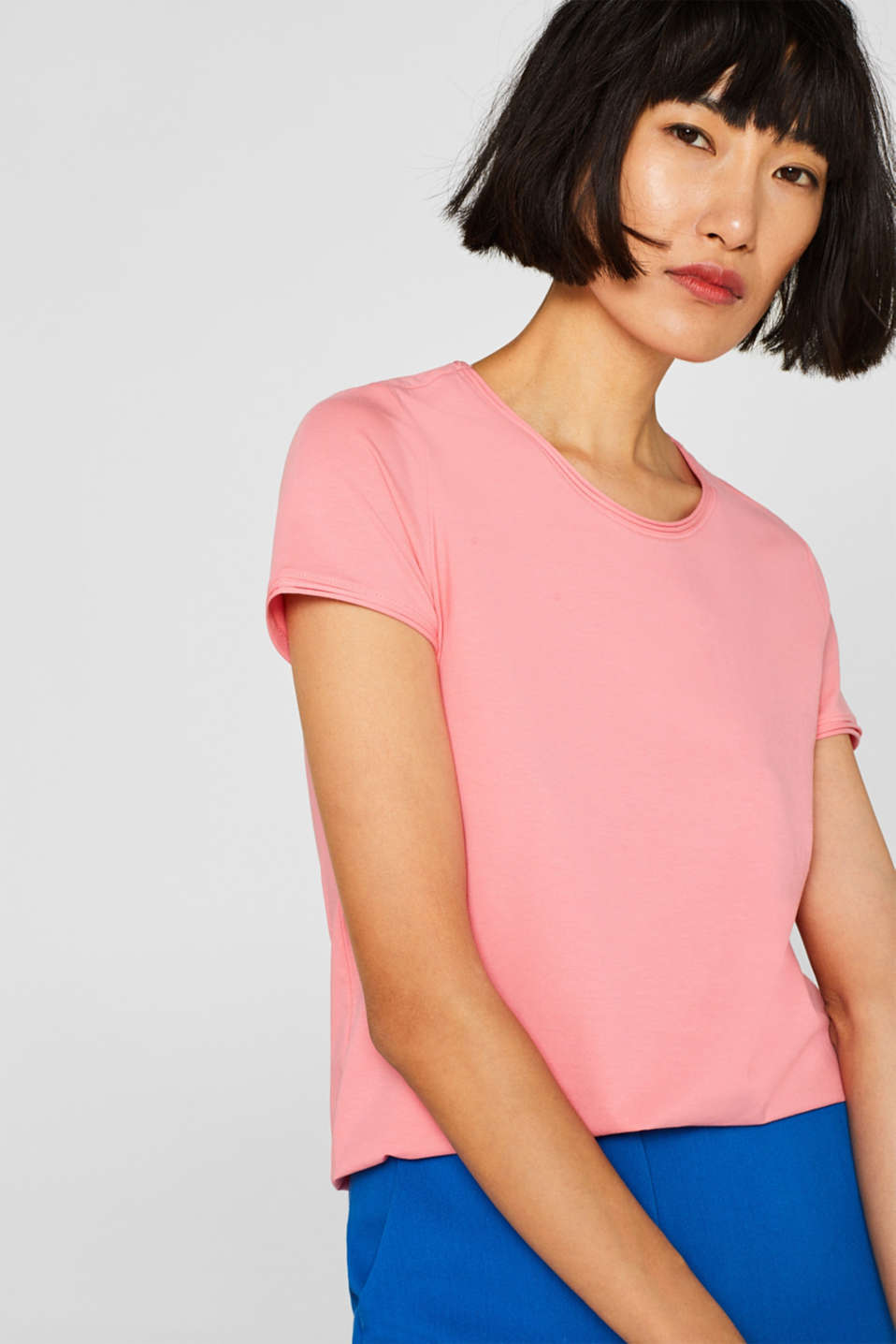Stretch T-shirt with organic cotton, PINK, detail image number 6