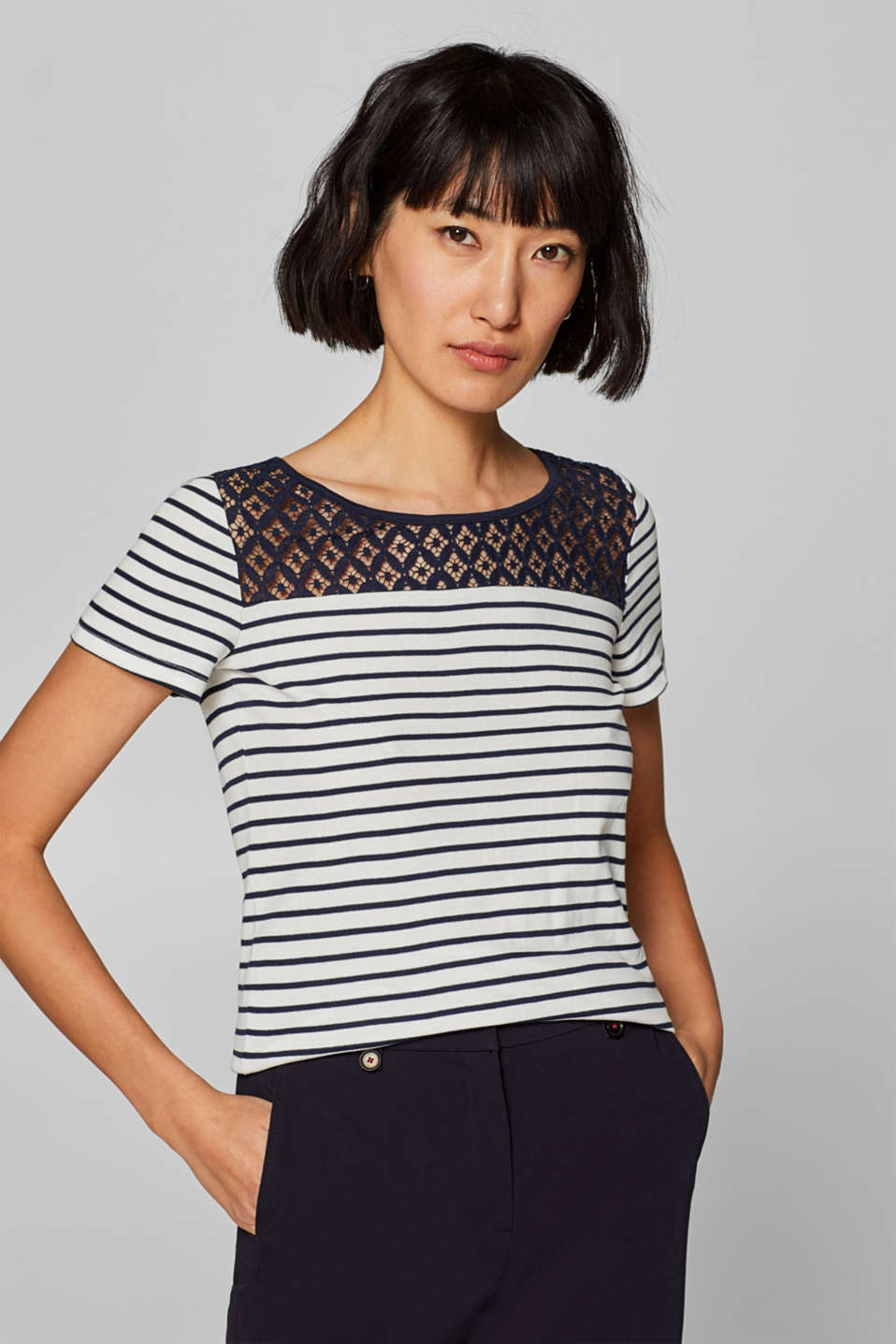 edc - Striped T-shirt with lace and organic cotton