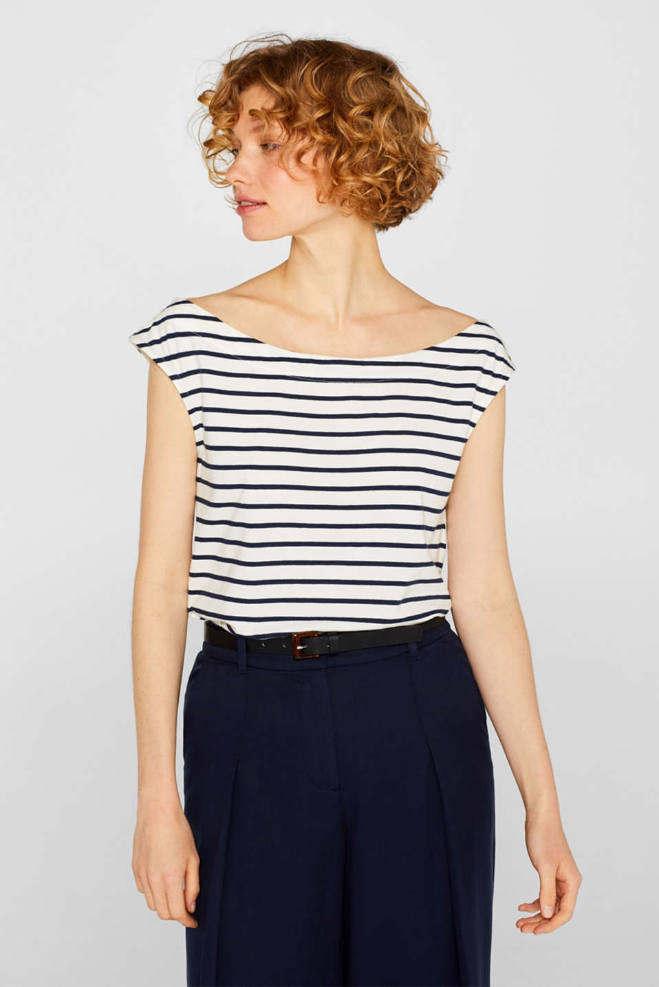 edc - Bateau top with stripes, 100% cotton