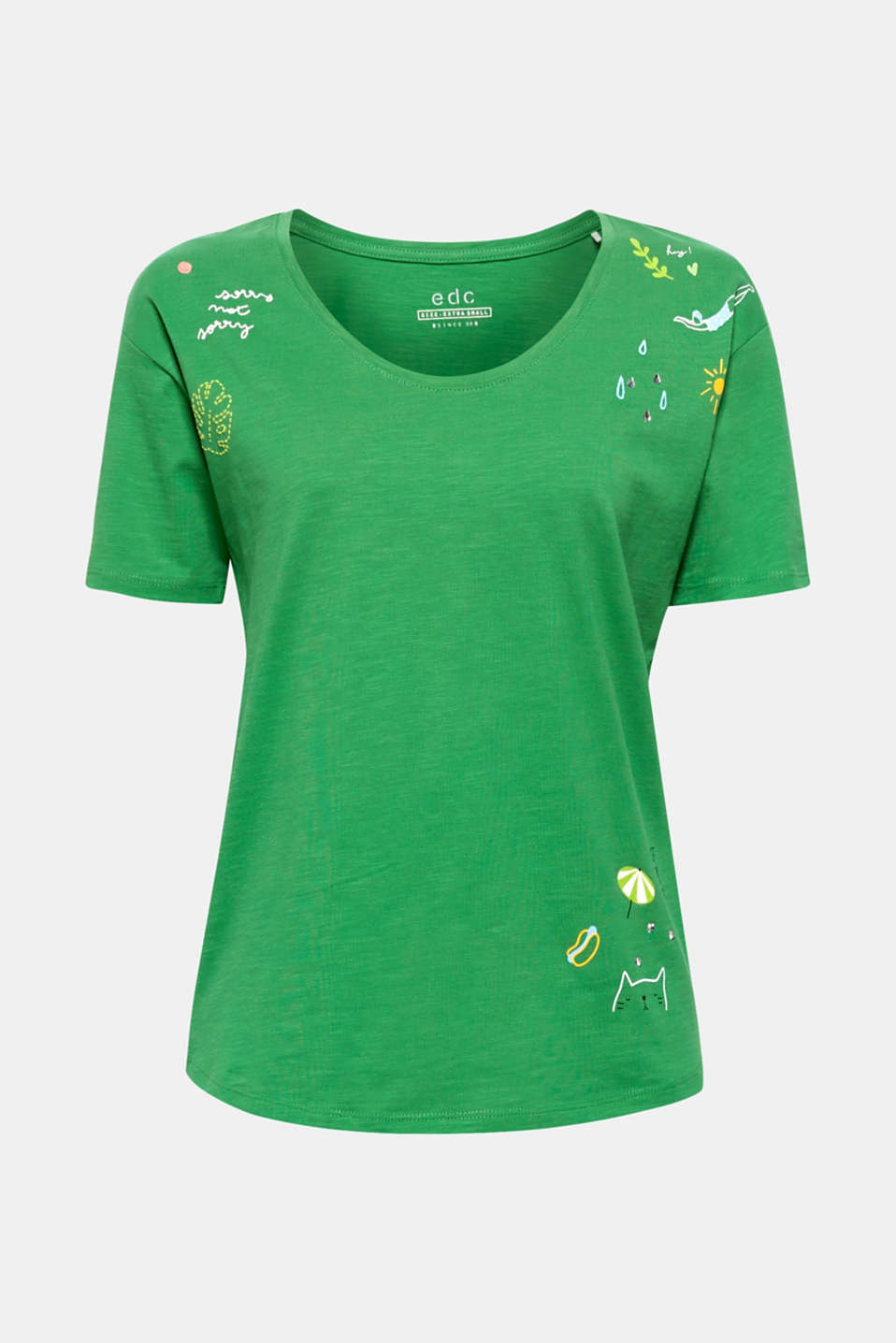 T-shirt with rhinestone and print motifs, 100% cotton, DARK GREEN, detail image number 6