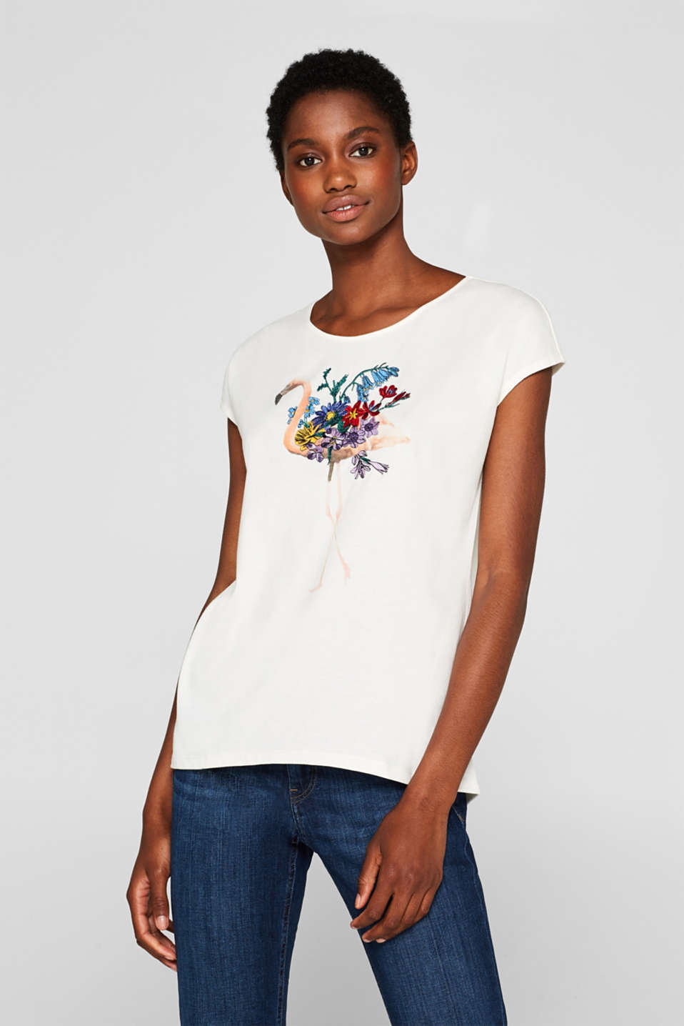 edc - Printed T-shirt with embroidery, 100% cotton