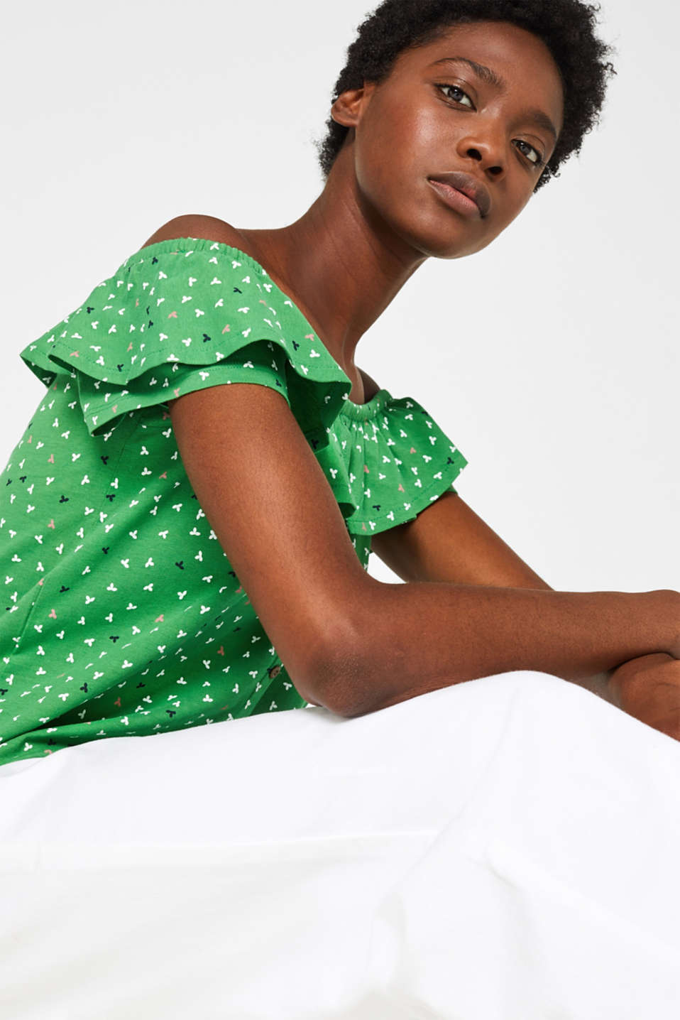 Linen blend: Carmen T-shirt with a decorative button placket, DARK GREEN, detail image number 0
