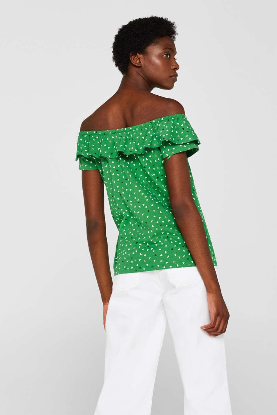 Linen blend: Carmen T-shirt with a decorative button placket, DARK GREEN, detail image number 3