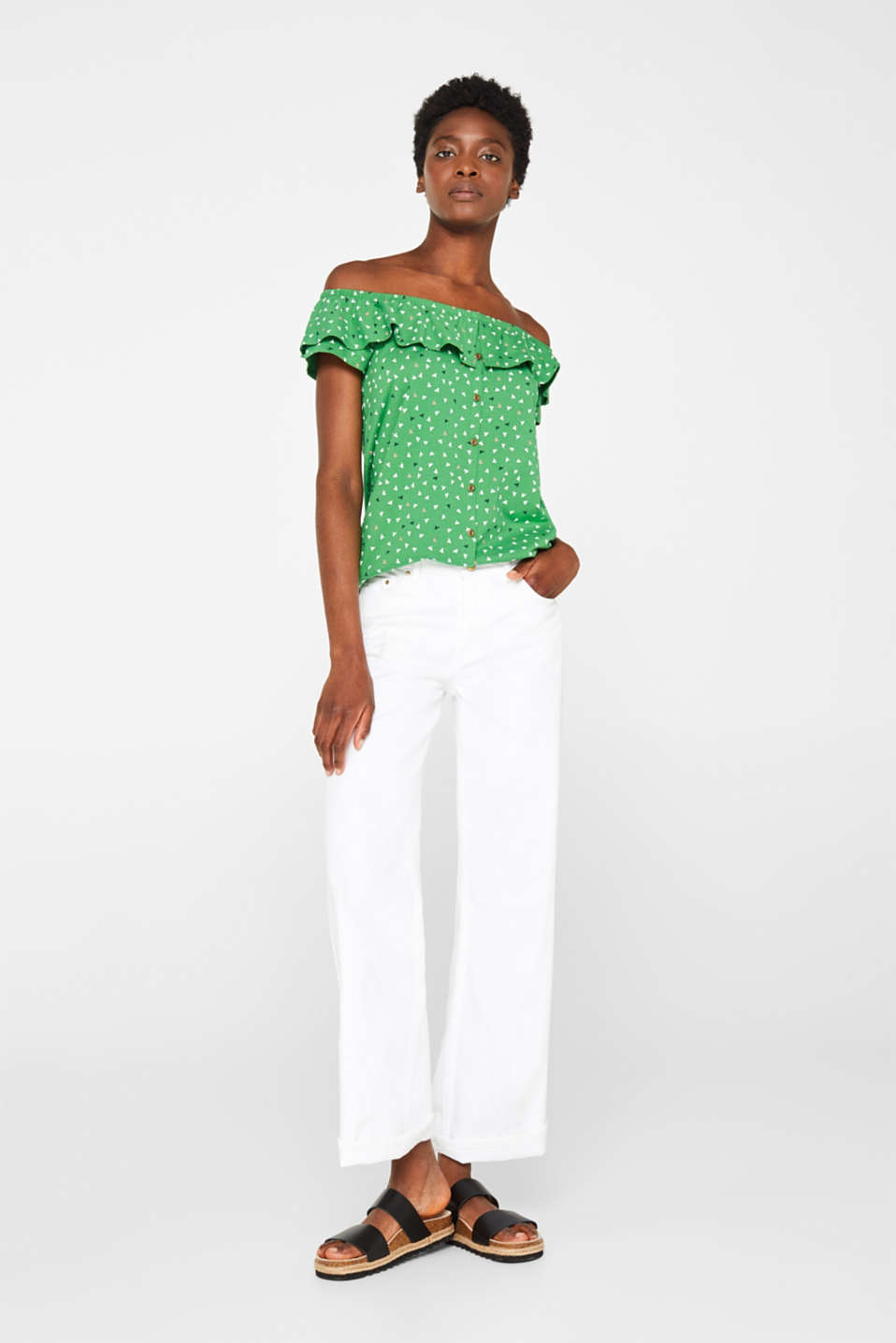 Linen blend: Carmen T-shirt with a decorative button placket, DARK GREEN, detail image number 1