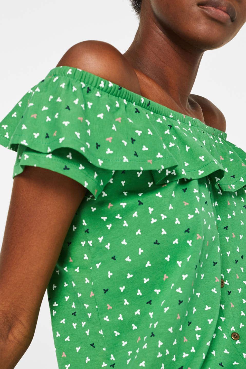 Linen blend: Carmen T-shirt with a decorative button placket, DARK GREEN, detail image number 2