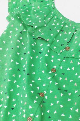 Linen blend: Carmen T-shirt with a decorative button placket, DARK GREEN, detail