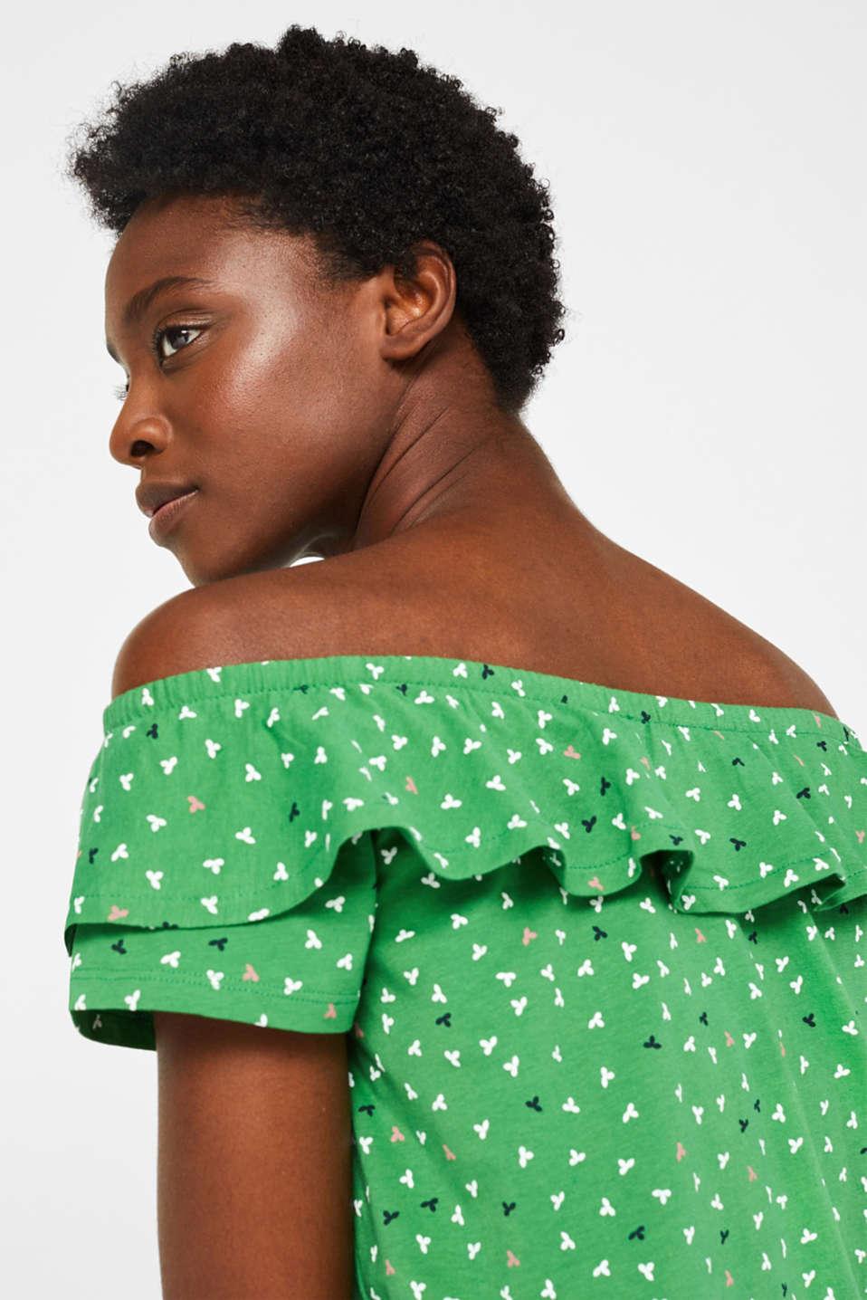 Linen blend: Carmen T-shirt with a decorative button placket, DARK GREEN, detail image number 5