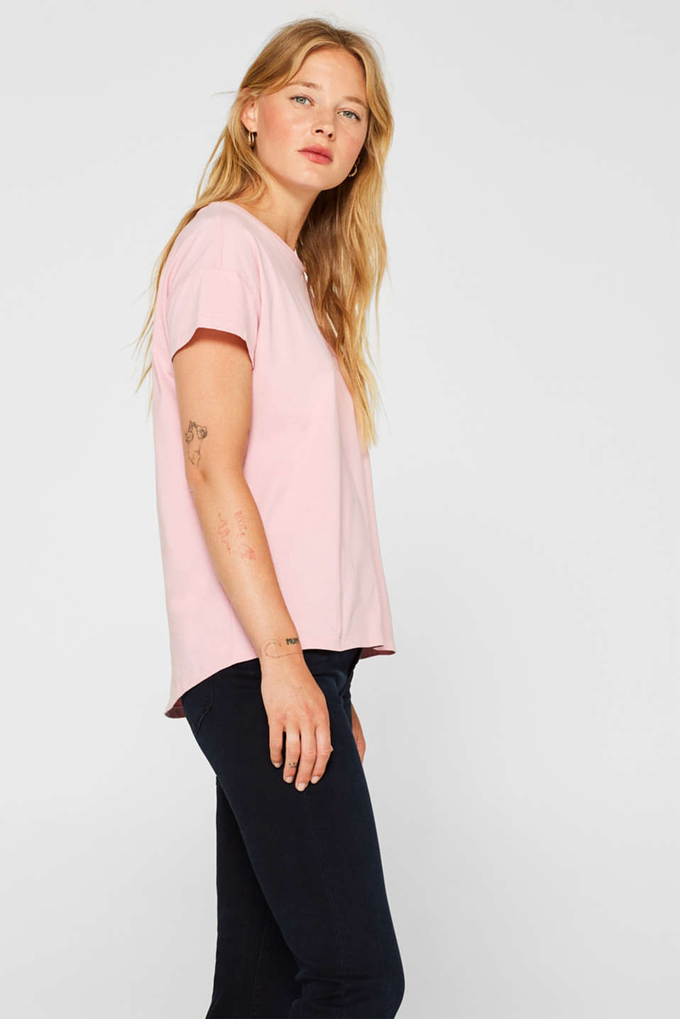 100% cotton oversized top, LIGHT PINK 2, detail image number 5