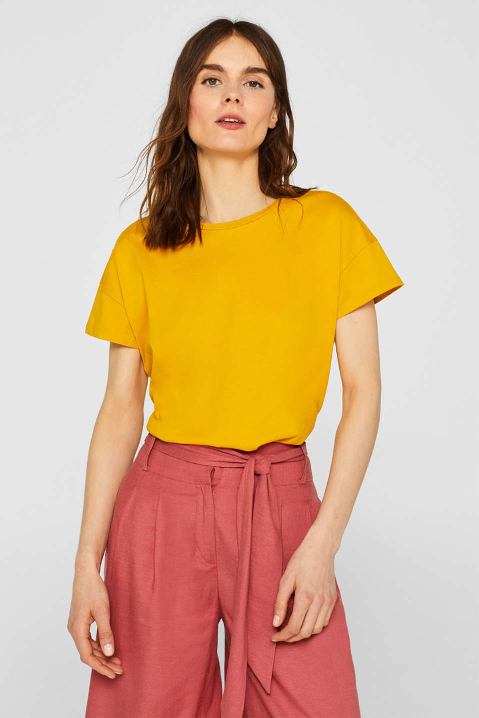100% cotton oversized top, HONEY YELLOW 4, detail image number 0