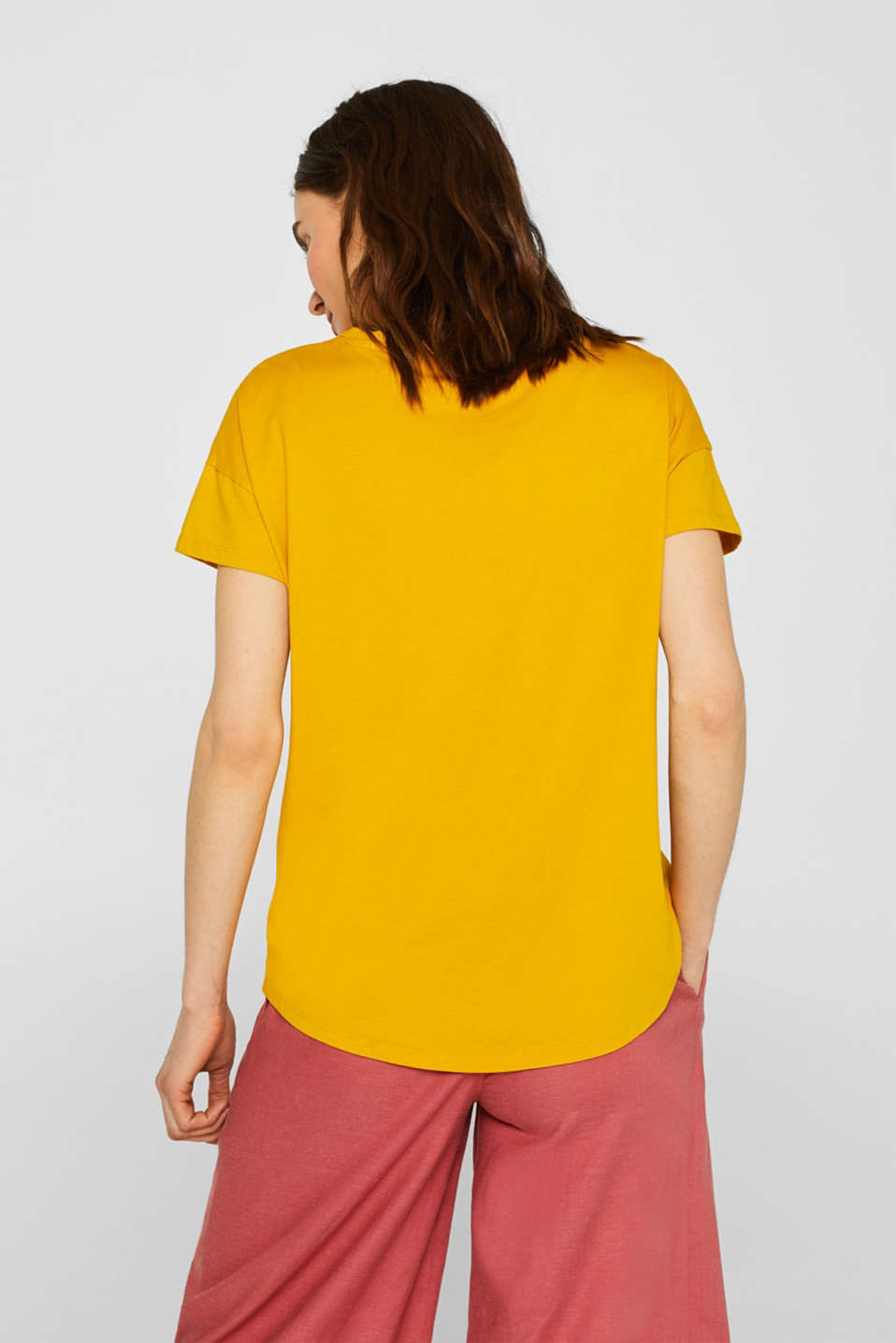 100% cotton oversized top, HONEY YELLOW 4, detail image number 3