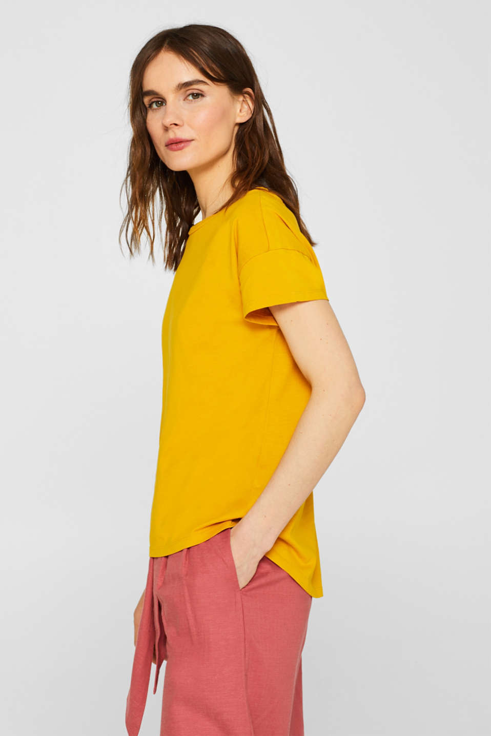 100% cotton oversized top, HONEY YELLOW 4, detail image number 5