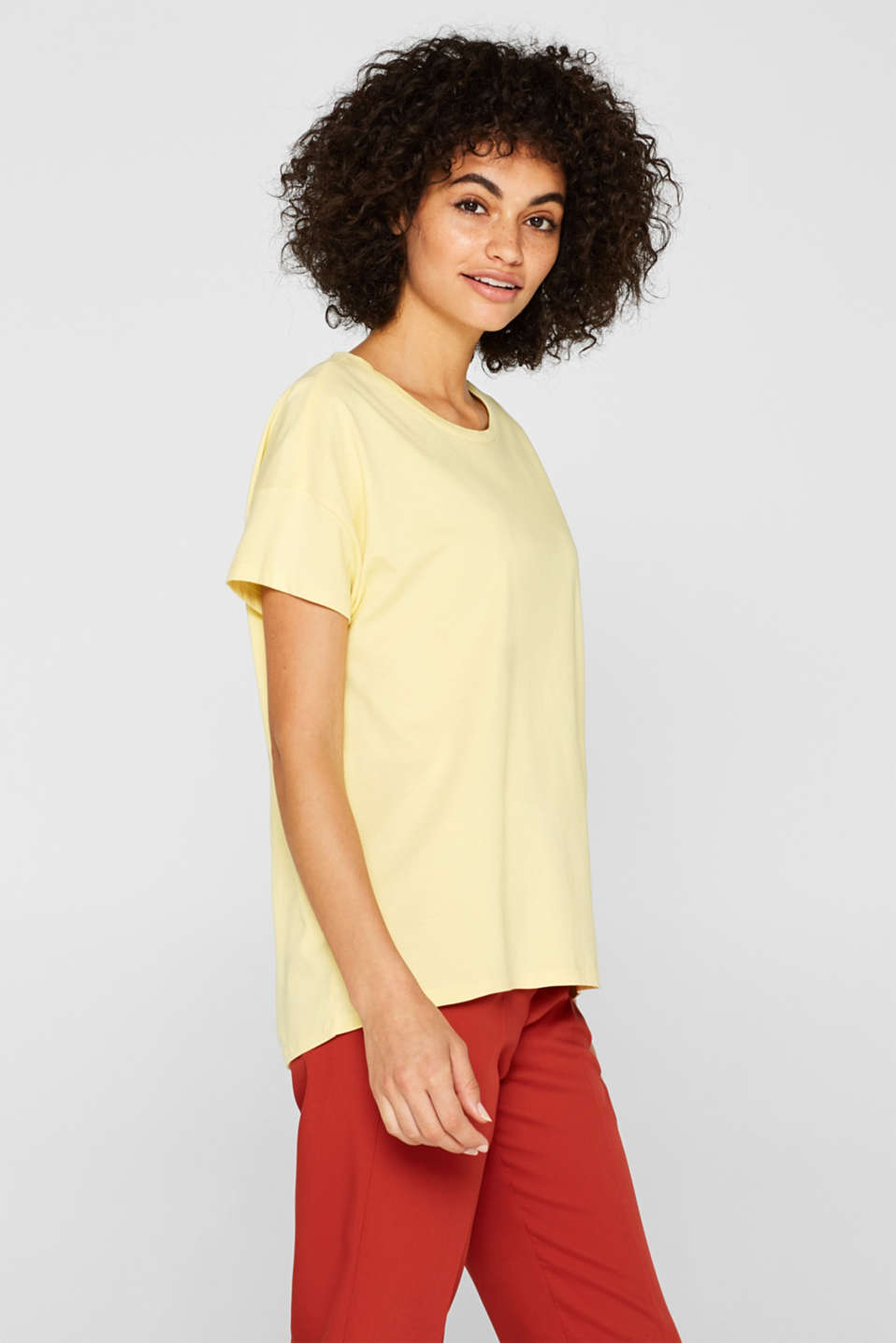 100% cotton oversized top, LIGHT YELLOW 4, detail image number 0