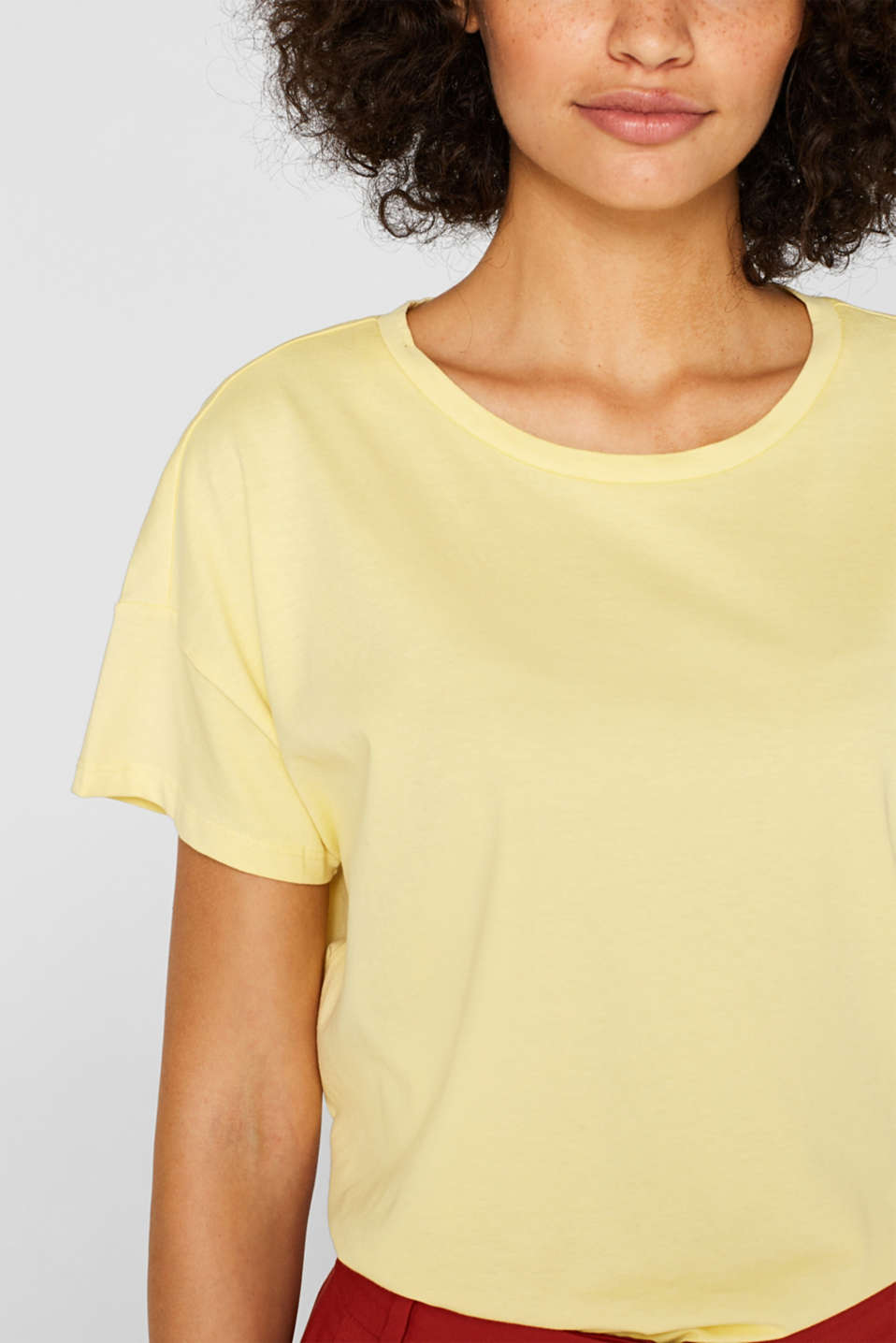 100% cotton oversized top, LIGHT YELLOW 4, detail image number 2