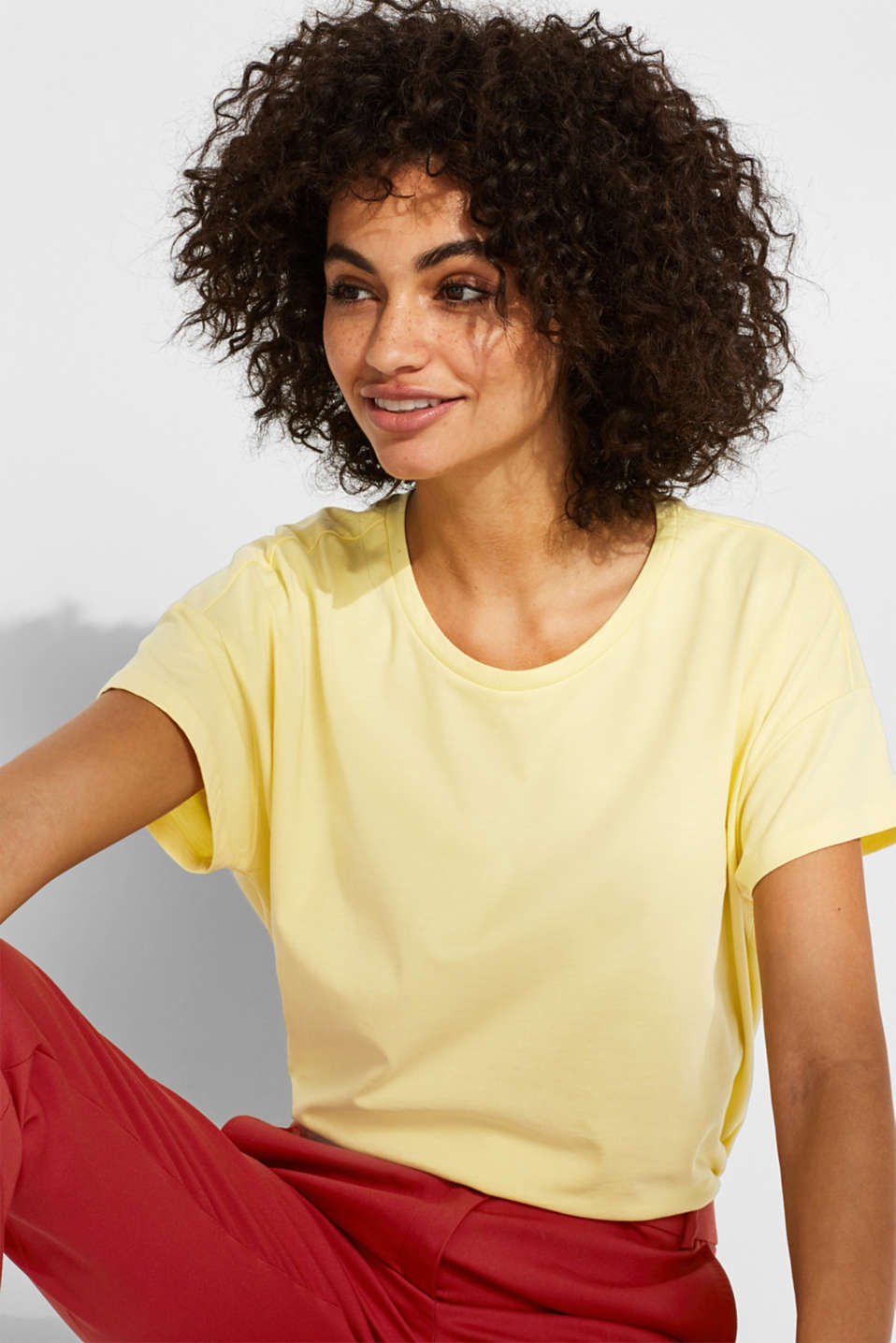 100% cotton oversized top, LIGHT YELLOW 4, detail image number 5