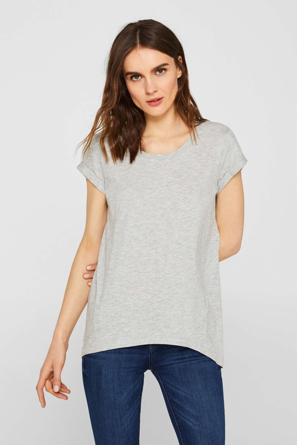 edc - Melange-Shirt mit High-Low-Saum und Organic Cotton